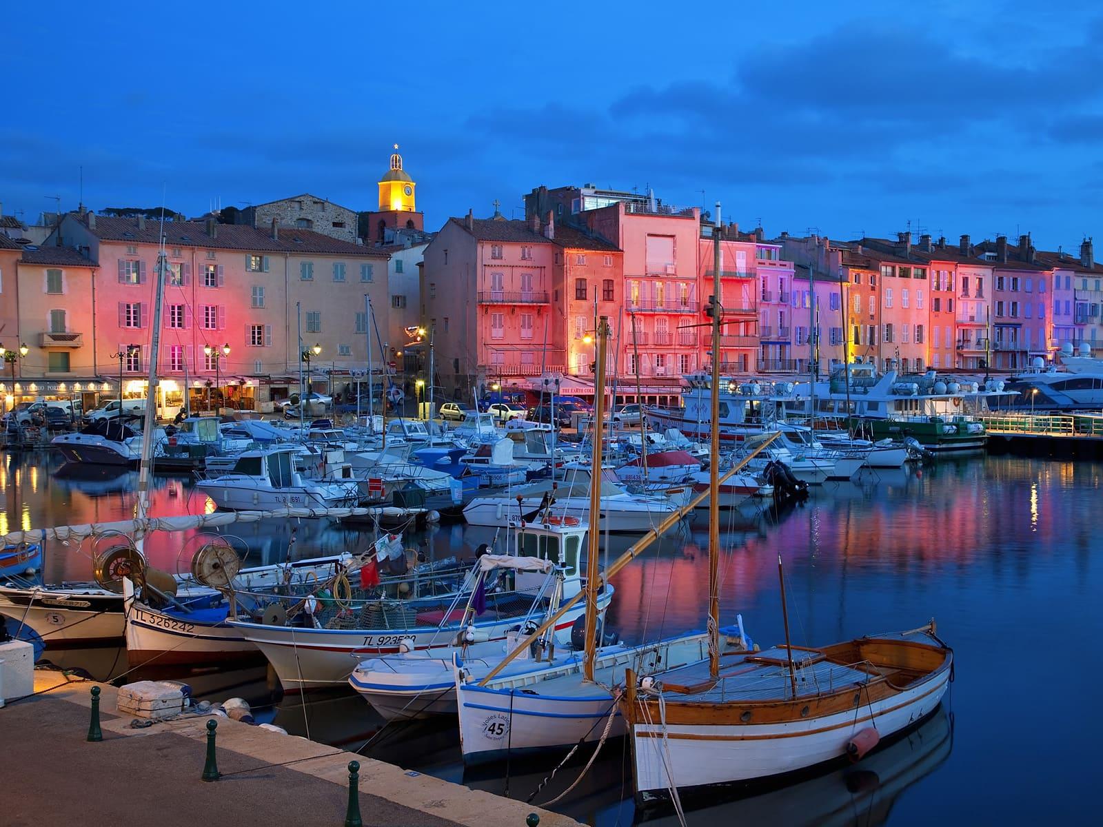 Boats in marina at twilight, St.-Tropez, France